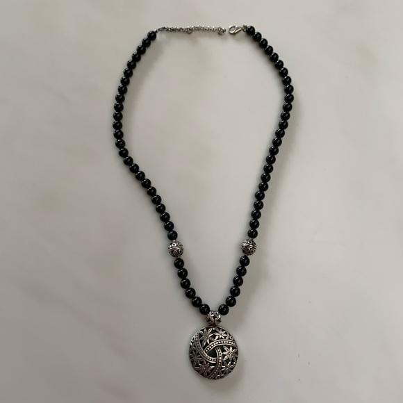 Vintage .925 silver medallion necklace